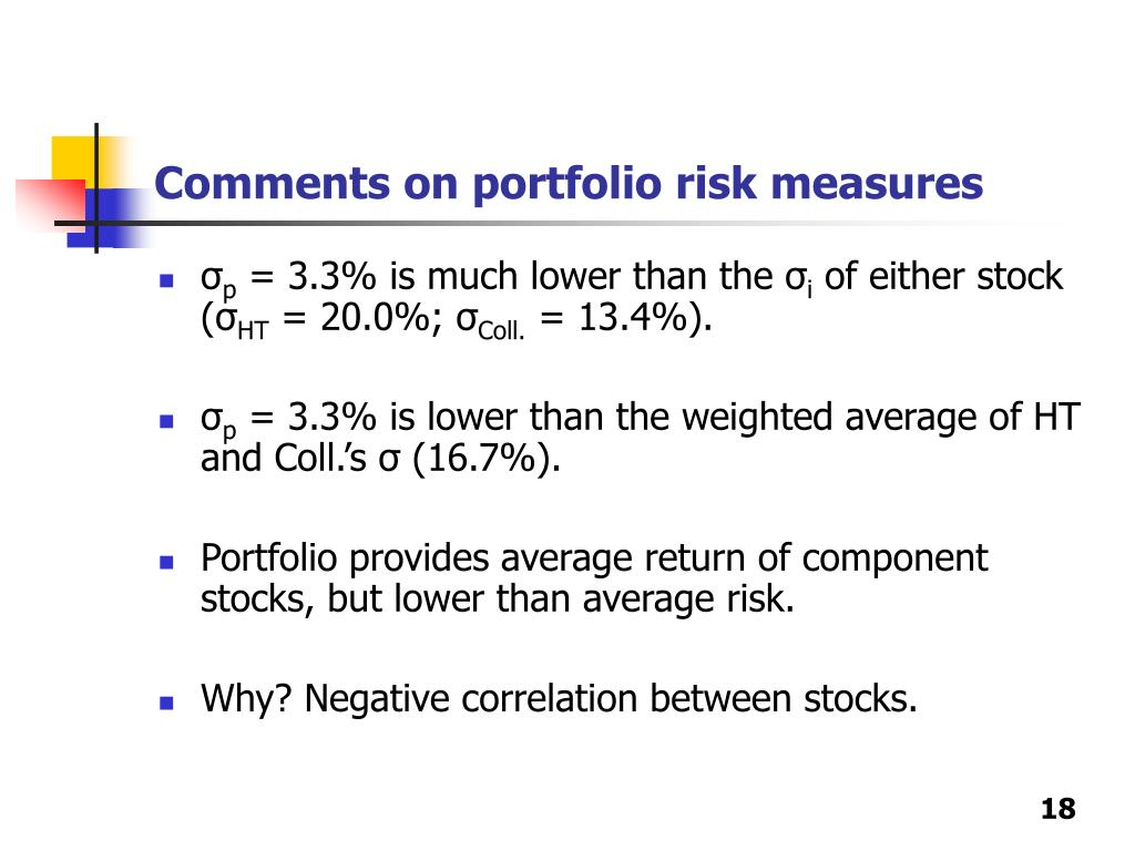 Comments on portfolio risk measures