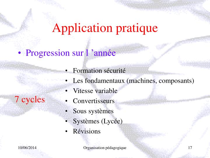 Application pratique