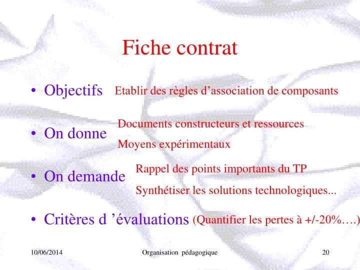 Fiche contrat