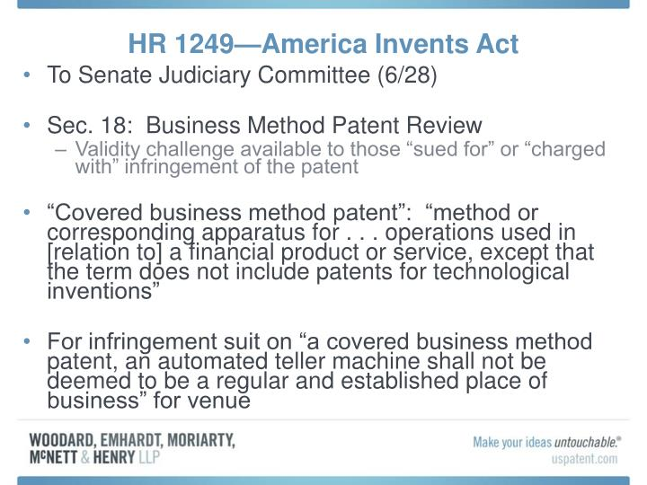 HR 1249—America Invents Act