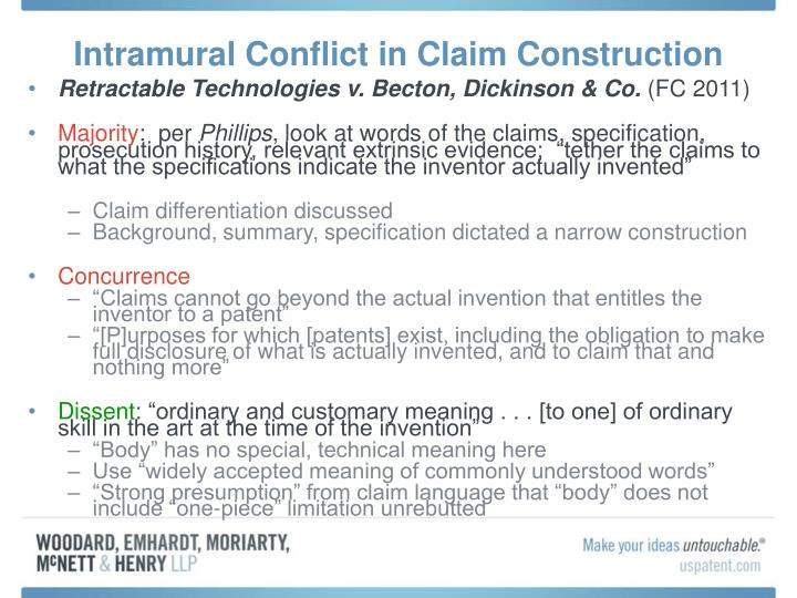 Intramural Conflict in Claim Construction