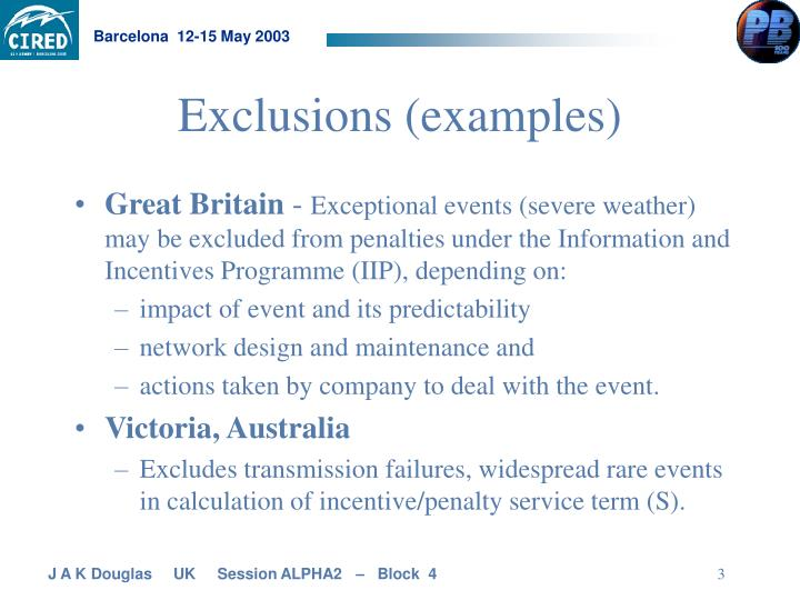 Exclusions examples