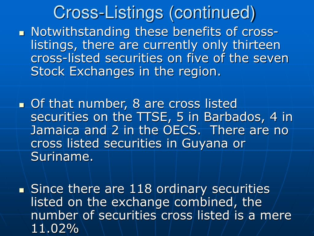 Cross-Listings (continued)