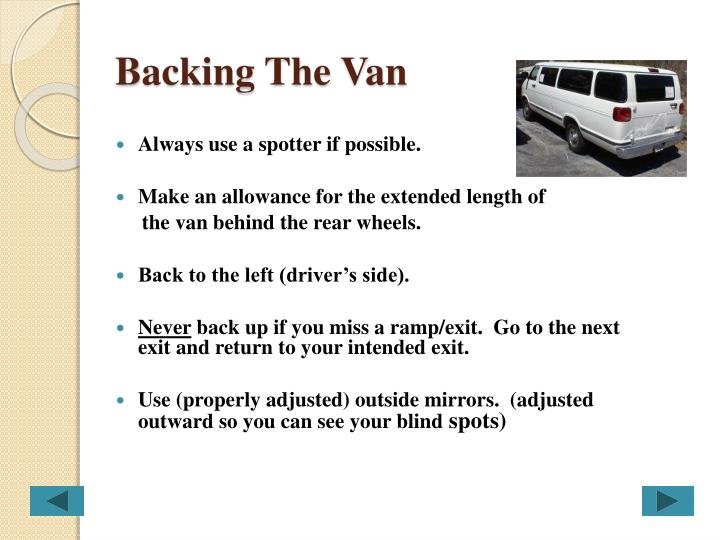 Backing The Van