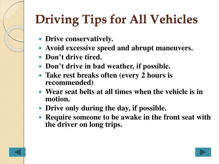 Driving Tips for All Vehicles
