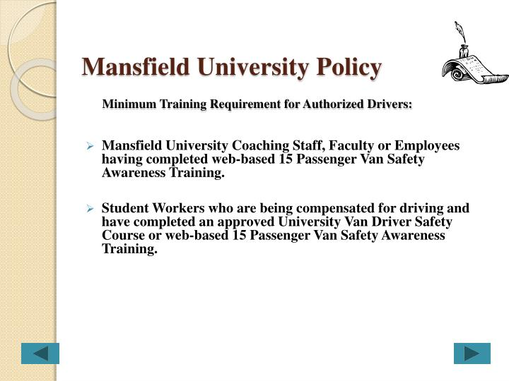 Mansfield University Policy