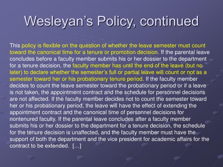 Wesleyan's Policy, continued