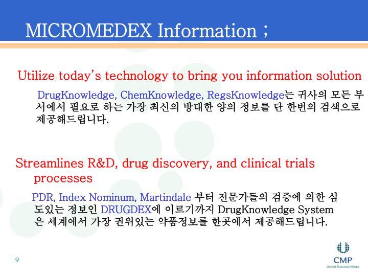 MICROMEDEX Information ;