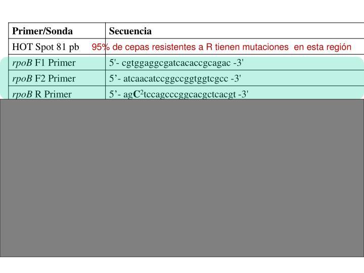 95% de cepas resistentes a R tienen mutaciones  en esta región