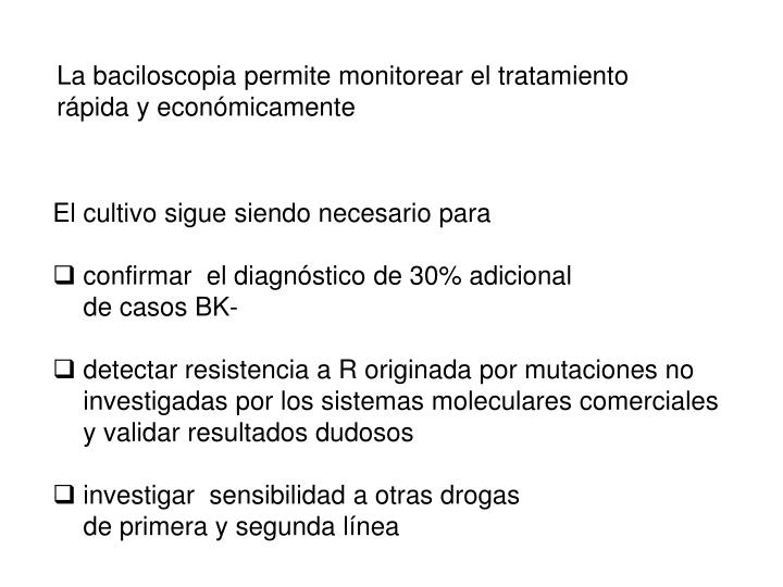La baciloscopia permite monitorear el tratamiento rápida y económicamente