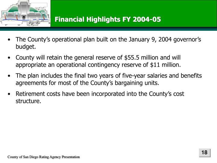 Financial Highlights FY 2004-05