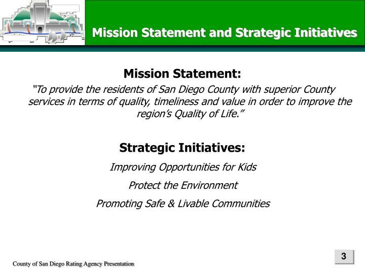 Mission Statement and Strategic Initiatives