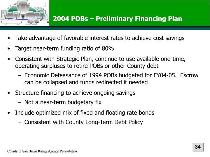 2004 POBs – Preliminary Financing Plan