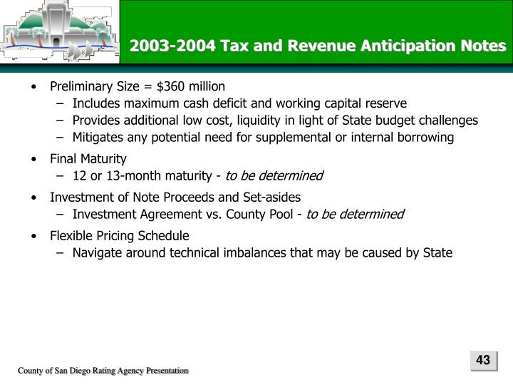 2003-2004 Tax and Revenue Anticipation Notes