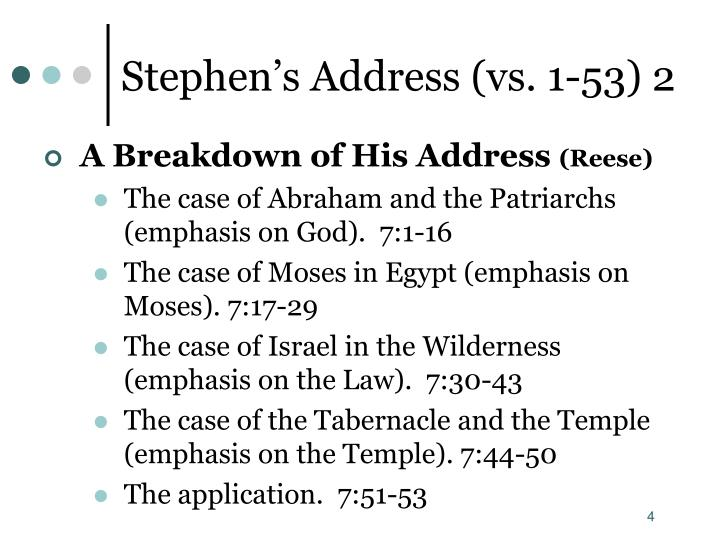 Stephen's Address (vs. 1-53) 2