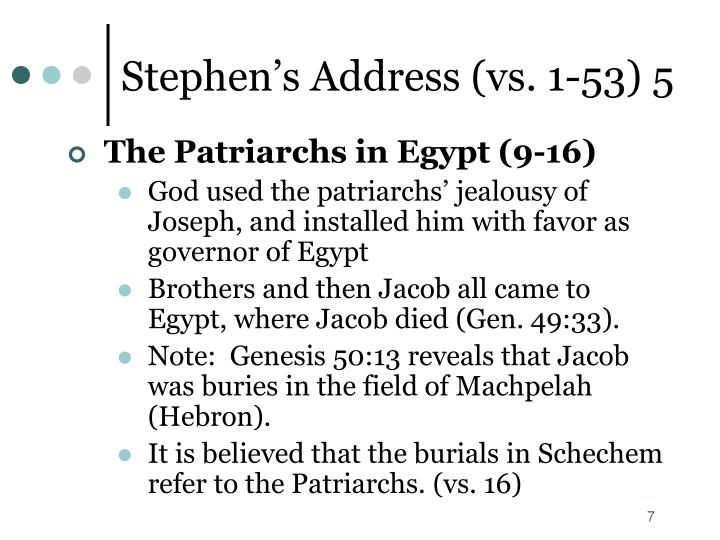 Stephen's Address (vs. 1-53) 5
