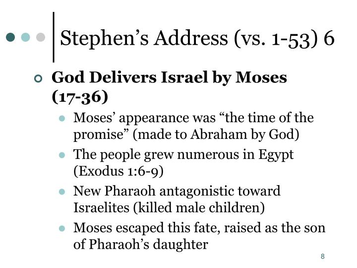Stephen's Address (vs. 1-53) 6