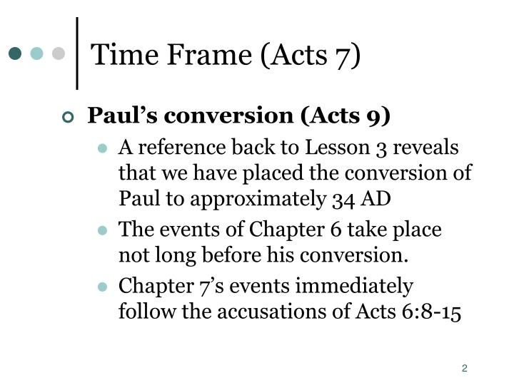 Time Frame (Acts 7)
