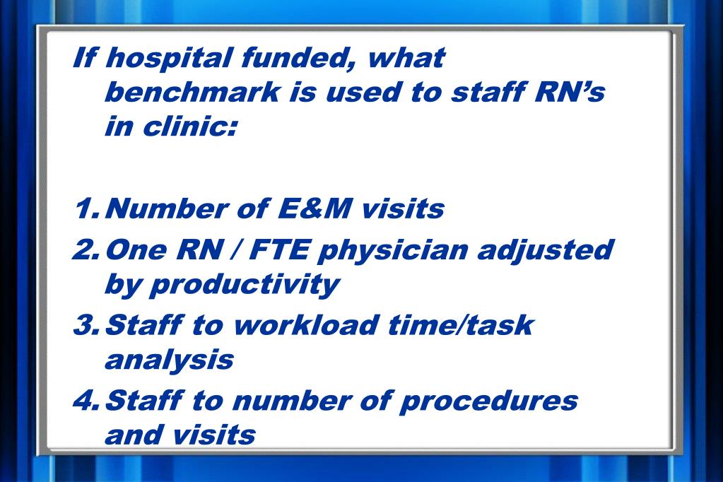 If hospital funded, what benchmark is used to staff RN's in clinic: