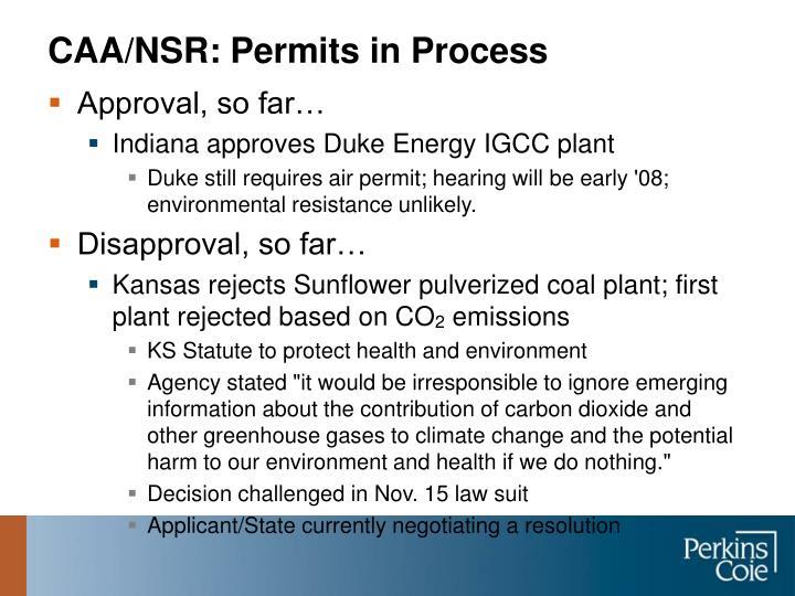 CAA/NSR: Permits in Process