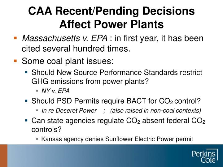CAA Recent/Pending Decisions Affect Power Plants