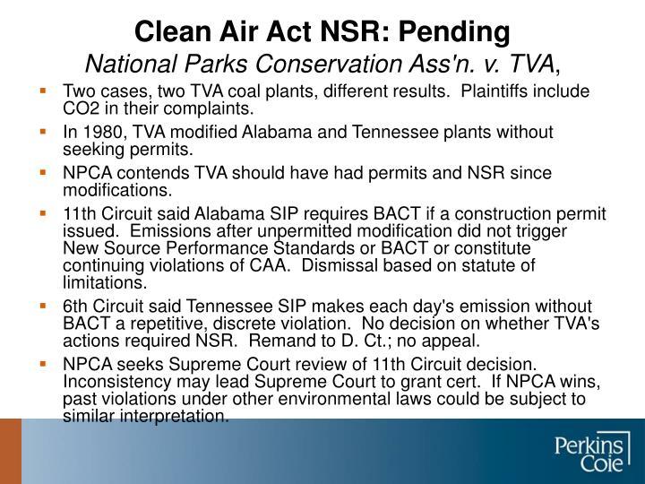 Clean Air Act NSR: Pending