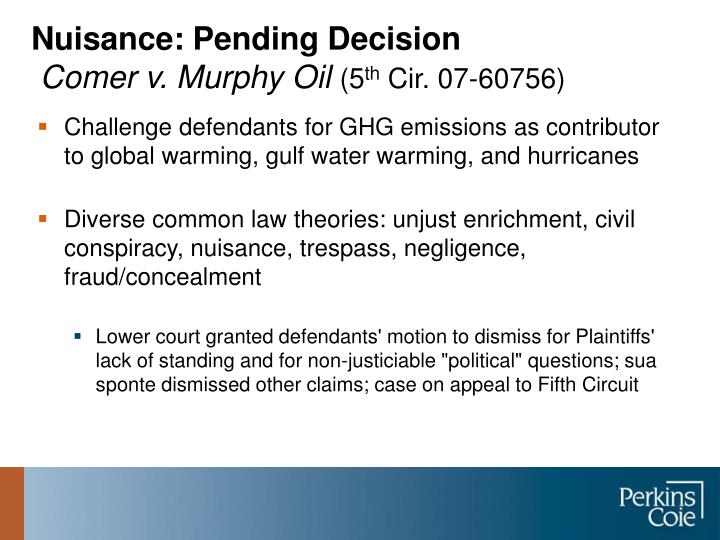 Nuisance: Pending Decision
