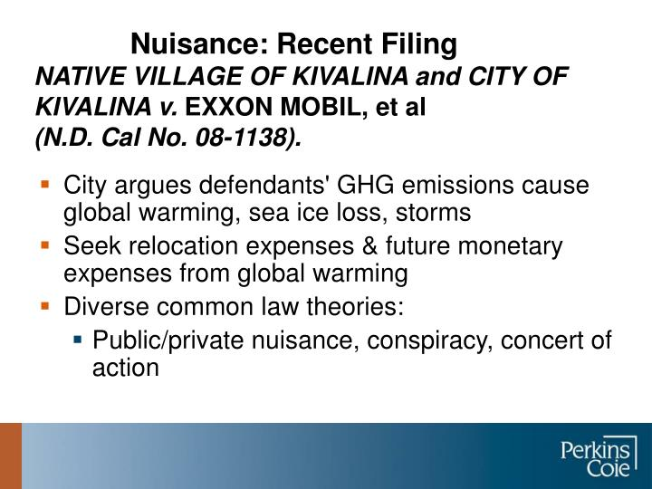 Nuisance: Recent Filing