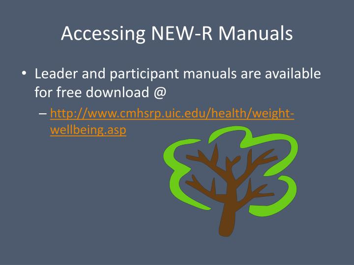Accessing NEW-R Manuals