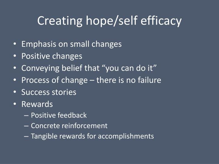 Creating hope/self efficacy