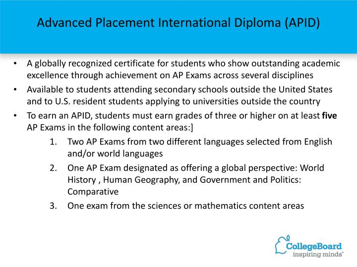 Advanced Placement International Diploma (APID)