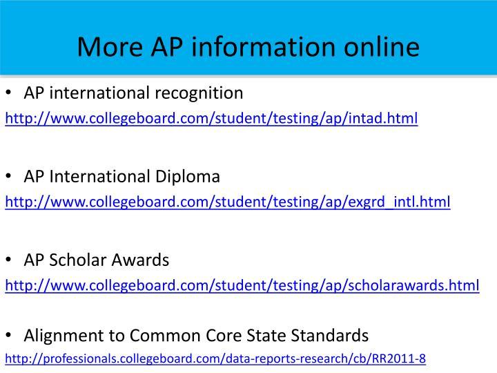 More AP information online