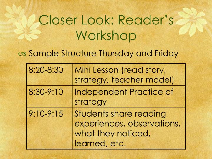 Closer Look: Reader's Workshop