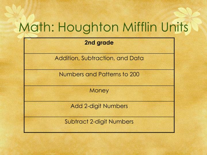 Math: Houghton Mifflin Units