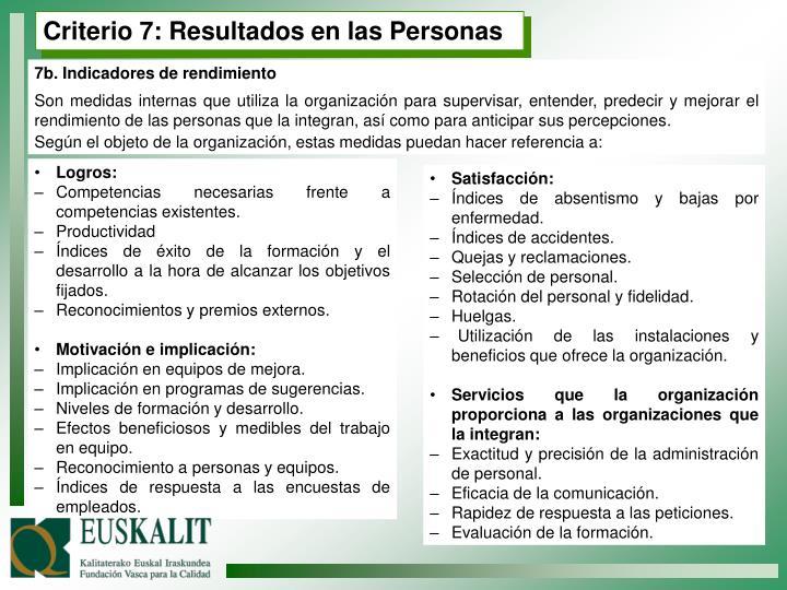 Criterio 7: Resultados en las Personas