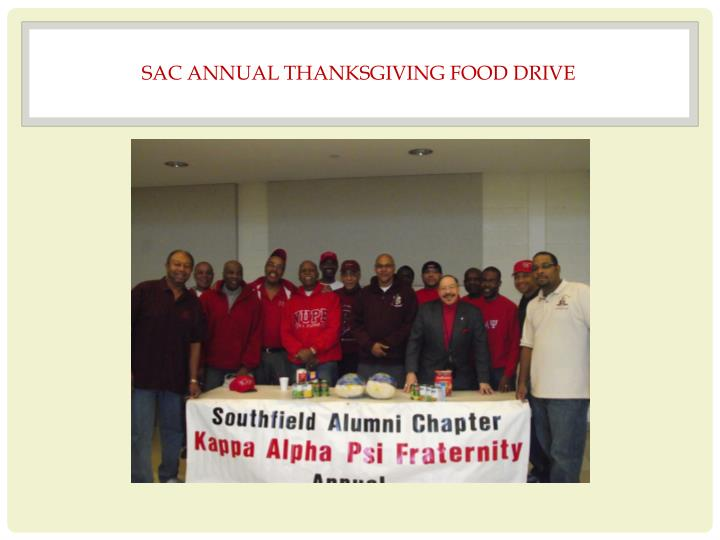 SAC ANNUAL THANKSGIVING FOOD DRIVE