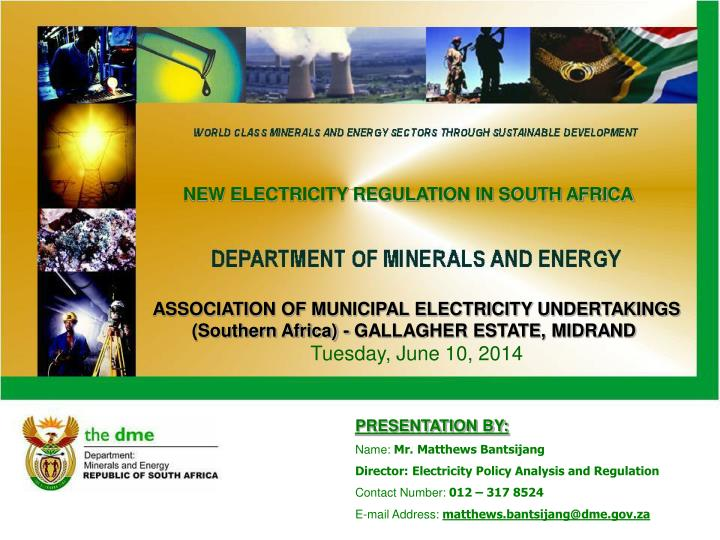 NEW ELECTRICITY REGULATION IN SOUTH AFRICA