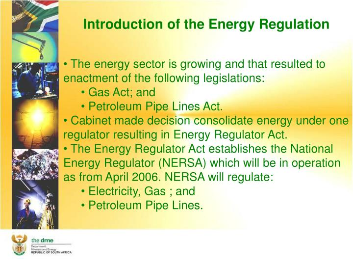 Introduction of the Energy Regulation