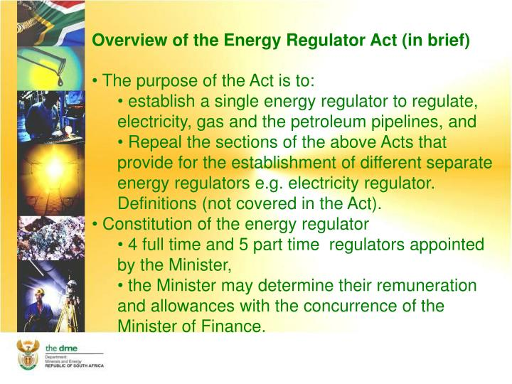 Overview of the Energy Regulator Act (in brief)