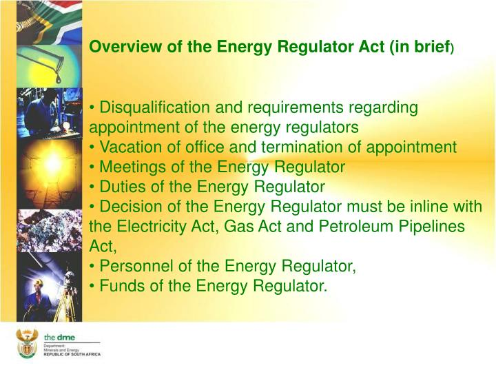Overview of the Energy Regulator Act (in brief