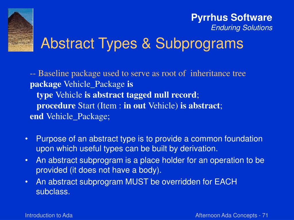 Abstract Types & Subprograms