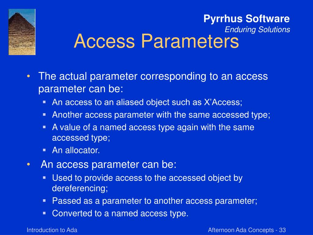 Access Parameters