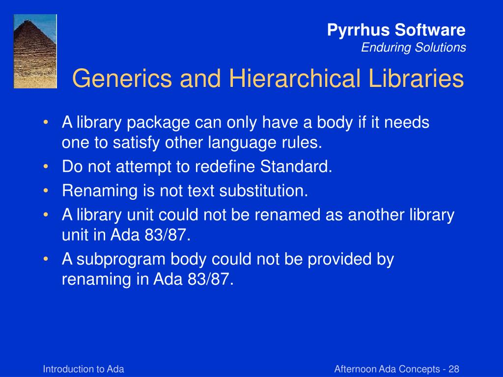 Generics and Hierarchical Libraries