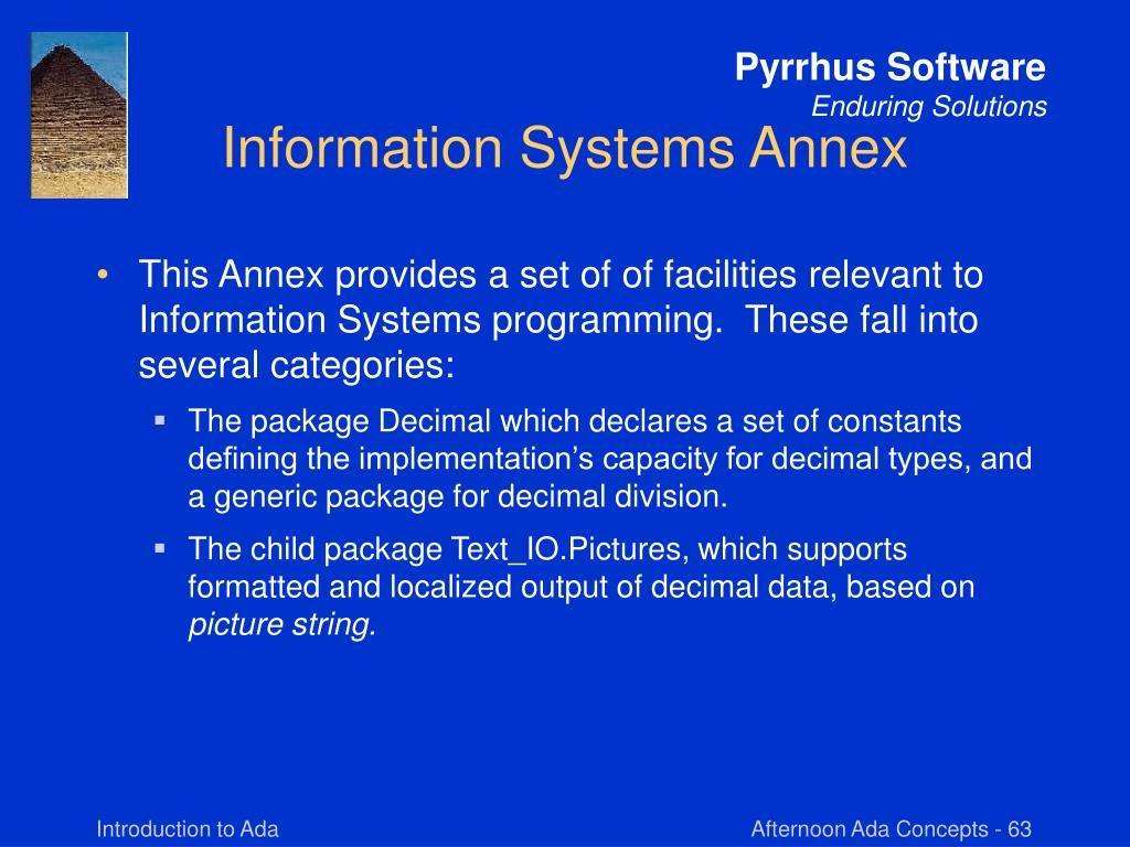 Information Systems Annex