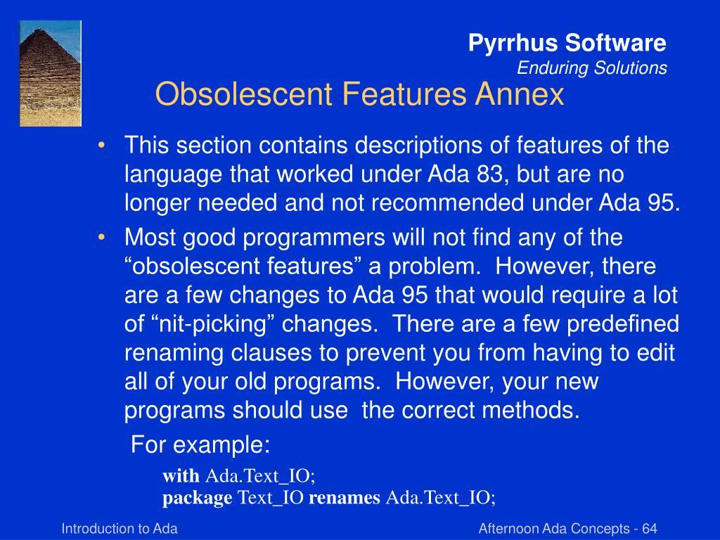 Obsolescent Features Annex
