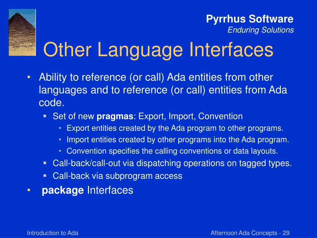 Other Language Interfaces