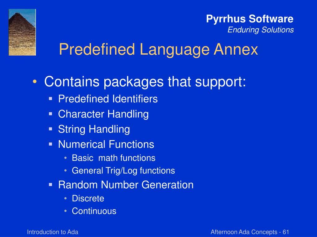 Predefined Language Annex