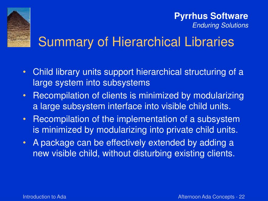 Summary of Hierarchical Libraries