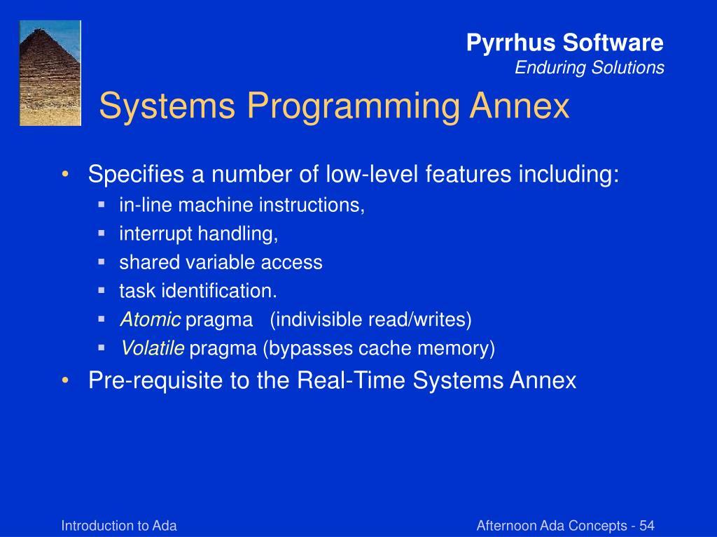 Systems Programming Annex