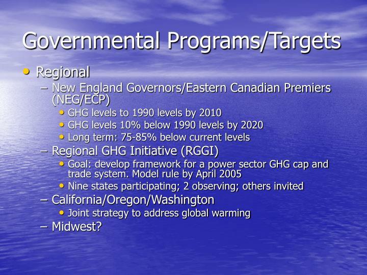 Governmental Programs/Targets